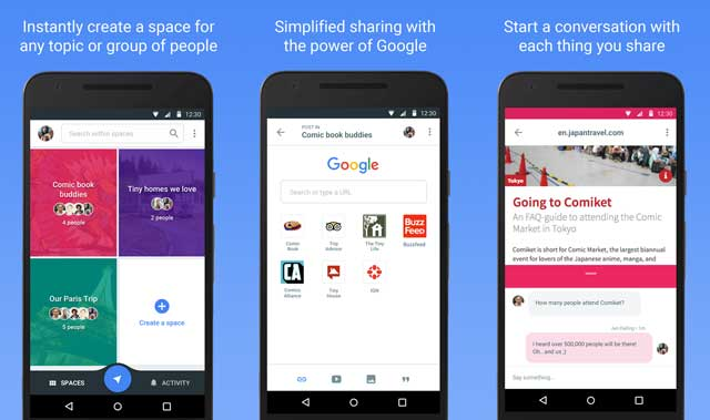 Spaces, a group sharing app released by Google