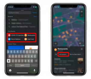 How to filter search results in Maps on Apple iPhone